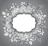 Elegant floral template with graphic bush roses and leaves. Royalty Free Stock Images