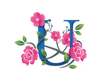 Elegant Floral U Alphabet Logo Illustration Royalty Free Stock Image