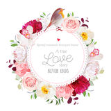 Elegant floral vector round card with white and burgundy red peony, rose, orchid, carnation flowers, mixed leaves  Stock Photos