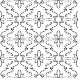 Elegant flourish seamless pattern. Black curved lines on white background. Vector Stock Photography