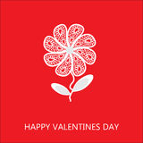 Elegant flower greetings Happy Valentines Day, rec Stock Photo