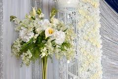 Elegant Flowers and Decorations. Elegant white flower arrangement for special events Stock Image