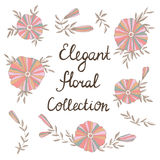 Elegant flowers in vector. Cute floral elements. Vintage floral set. Save the date design collection royalty free illustration