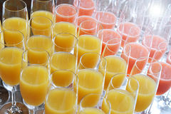 Elegant flutes of fresh orange juice Stock Photo