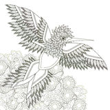 Elegant flying bird. Coloring page design in exquisite style stock illustration