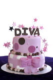 Elegant Fondant Covered Cake - Shalllow DOF. Pink fondant covered two-tier cake with the word Diva spelled out in brown fondant and pink stars stock photo