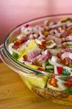 Elegant food photo of potato, pork and bacon baked dish stock photography