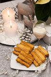 Sweet layered cake with coffee Christmas composition Royalty Free Stock Image