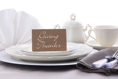 Elegant Formal Dining Thanksgiving Table Setting. Stock Image
