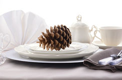 Elegant Formal Dining Thanksgiving Table Setting. Royalty Free Stock Images