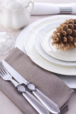 Elegant Formal Dining Thanksgiving Table Setting. Stock Photography