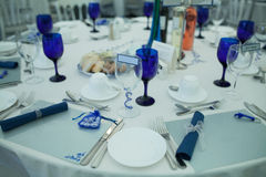 Elegant formal table at a wedding reception Royalty Free Stock Photos