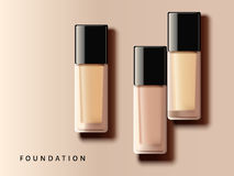 Elegant foundation collection. Different complexion tone in glass container in 3d illustration, top view of makeup design elements Royalty Free Stock Photos