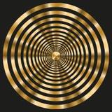 Elegant frame with gold concentric circles on black background. Vector image. Eps 8 stock illustration