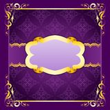 Elegant frame with ribbons on seamless ornament Stock Image