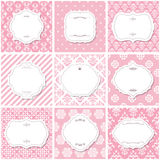 Elegant frame set on seamless patterns in pink. Stock Photo
