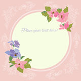 Elegant frame with text. Background with elegant pink flowers.Invitation floral card royalty free illustration