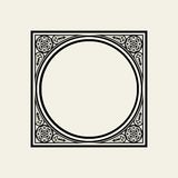 Elegant frame in Victorian style. The circle inscribed in a square. Vector Template for monograph, logos, emblems Stock Images