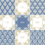 Elegant frames and damask seamless patterns set. Royalty Free Stock Images