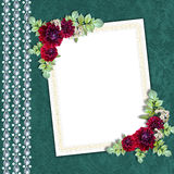 Elegant framework on the textile background. With a flower bouquet Royalty Free Stock Photography