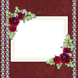 Elegant framework on the textile background Stock Photo