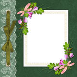 Elegant framework on the textile background. With a lace Royalty Free Stock Photo