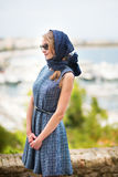 Elegant French woman in Cannes Stock Photos