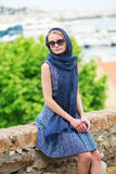 Elegant French woman in Cannes Stock Image