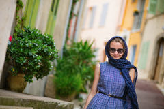 Elegant French woman in Cannes Stock Photography