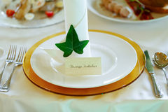 Elegant and fresh wedding reception table decoration nametag and Stock Photo