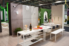 Elegant furniture at Macef home show in Milan Stock Photos
