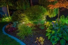 Elegant Garden Illumination. Elegant Backyard Garden Led Lights Illumination. Lighting in a Garden stock photography