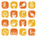 Color gardening icon set Stock Image