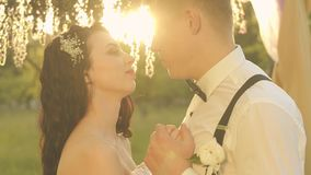 Elegant gelukkig huwelijkspaar, bruid en bruidegom die in het park bij zonsondergang koesteren stock footage