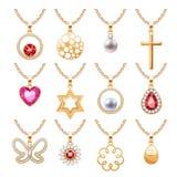Elegant gemstones vector jewelry pendants set Stock Image