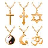 Elegant gemstones vector jewelry religious symbols pendants set Royalty Free Stock Image