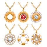 Elegant gemstones vector jewelry round pendants set Royalty Free Stock Photo