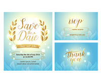 Elegant Gentle wedding set with hand lettering and beautiful background. Includes save the date,rsvp and thank you cards templates Royalty Free Stock Photography