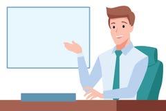 Elegant gentleman sit on chair presenting something on whiteboar. D, Office environment, Leader boss stock illustration