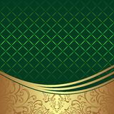 Elegant geometric green Background with golden ornamental Border Stock Image