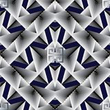 Elegant geometric seamless pattern. Abstract dark blue vector ba. Ckground wallpaper with white 3d geometric shapes, figures, hexagons, triangles, rhombus and Stock Image