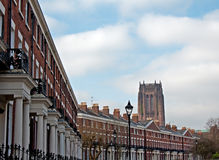 Elegant Georgian Terraced houses with Liverpool Anglican Cathedral in background stock photo