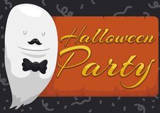 Ghost like a Gentleman ready for Halloween Party, Vector Illustration vector illustration