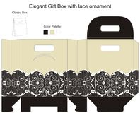 Elegant gift box. With lace ornaments stock illustration