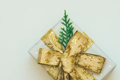 Elegant Gift Box Wrapped in Grey Silver Paper with Polka Dots Golden Ribbon Bow Juniper Twig. Christmas New Years Presents Stock Image
