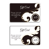 An elegant gift card. With leafy elements of Victorian style. The discount is 30 percent. Colors are brown with white. Vector Stock Photography