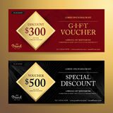 Elegant gift voucher or discount card template with abstract swi Stock Photos