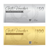 Elegant gift voucher or gift card certificate template stock illustration