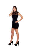 Elegant girl with a black dress Stock Photography