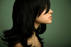 Elegant girl with black hair Stock Images